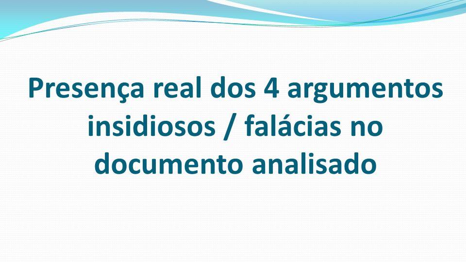 Presença real dos 4 argumentos insidiosos / falácias no documento analisado