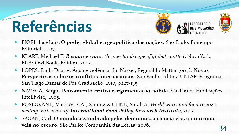 Referências FIORI, José Luís. O poder global e a geopolítica das nações. São Paulo: Boitempo Editorial, 2007. KLARE, Michael T. Resource wars: the new