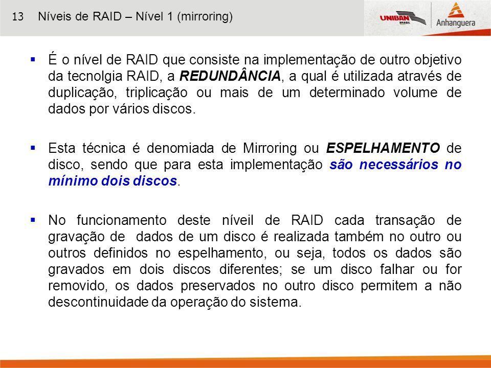 13 É o nível de RAID que consiste na implementação de outro objetivo da tecnolgia RAID, a REDUNDÂNCIA, a qual é utilizada através de duplicação, tripl
