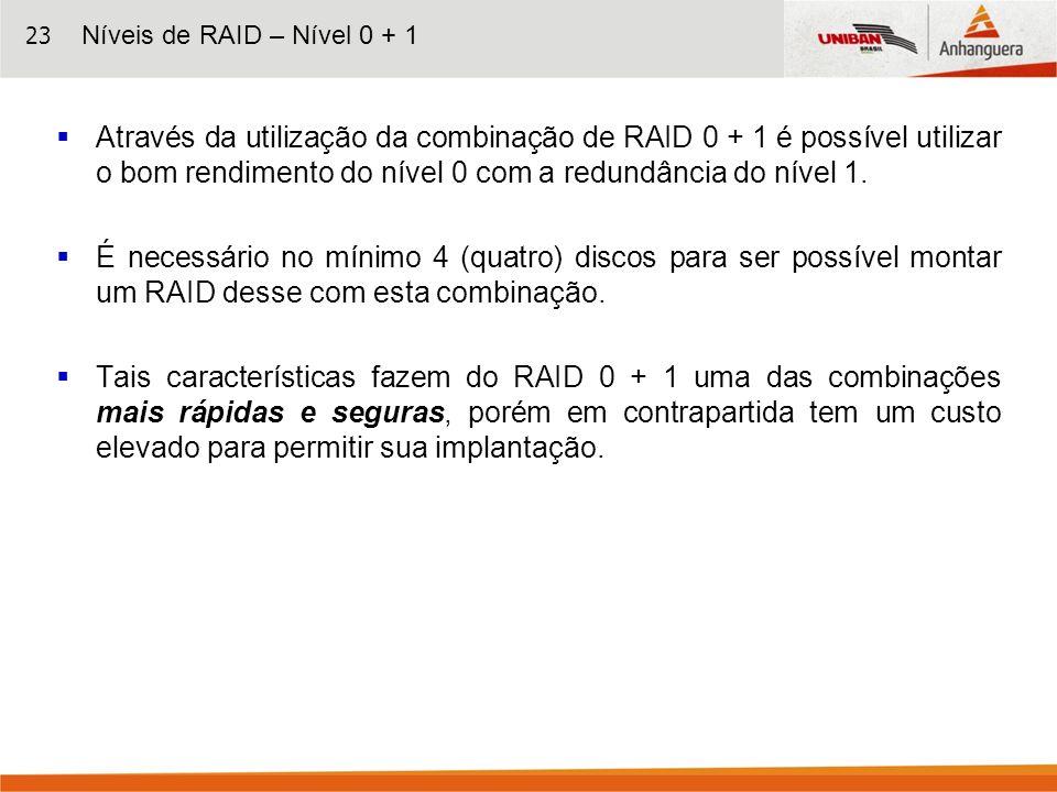 23 Através da utilização da combinação de RAID 0 + 1 é possível utilizar o bom rendimento do nível 0 com a redundância do nível 1. É necessário no mín