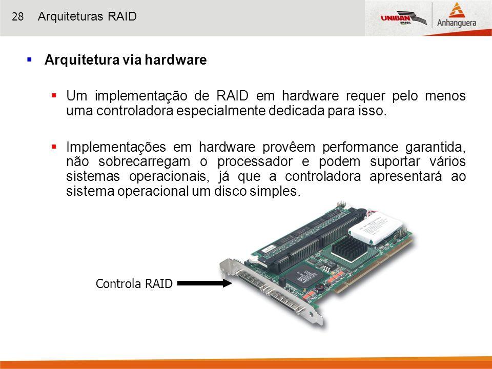 28 Arquitetura via hardware Um implementação de RAID em hardware requer pelo menos uma controladora especialmente dedicada para isso. Implementações e