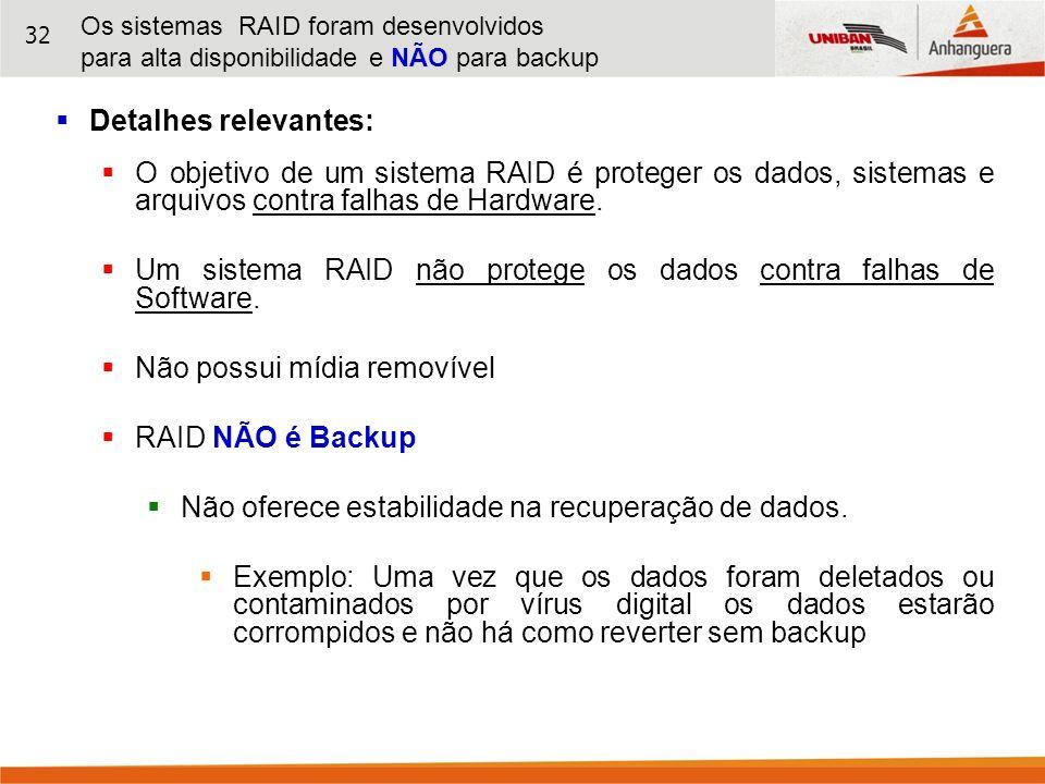 32 Detalhes relevantes: O objetivo de um sistema RAID é proteger os dados, sistemas e arquivos contra falhas de Hardware. Um sistema RAID não protege