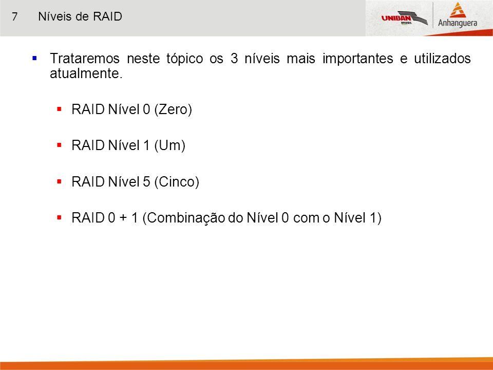 7 Trataremos neste tópico os 3 níveis mais importantes e utilizados atualmente. RAID Nível 0 (Zero) RAID Nível 1 (Um) RAID Nível 5 (Cinco) RAID 0 + 1