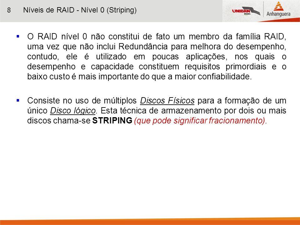 8 O RAID nível 0 não constitui de fato um membro da família RAID, uma vez que não inclui Redundância para melhora do desempenho, contudo, ele é utiliz
