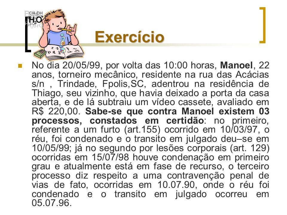 Exercício No dia 20/05/99, por volta das 10:00 horas, Manoel, 22 anos, torneiro mecânico, residente na rua das Acácias s/n, Trindade, Fpolis,SC, adent