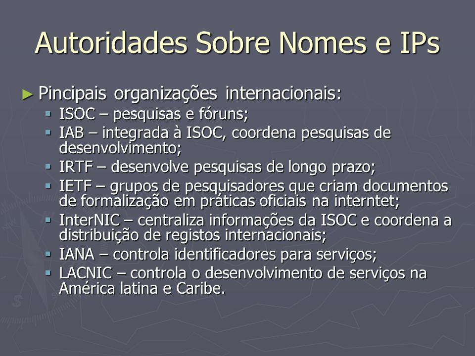 Autoridades Sobre Nomes e IPs Pincipais organizações internacionais: Pincipais organizações internacionais: ISOC – pesquisas e fóruns; ISOC – pesquisas e fóruns; IAB – integrada à ISOC, coordena pesquisas de desenvolvimento; IAB – integrada à ISOC, coordena pesquisas de desenvolvimento; IRTF – desenvolve pesquisas de longo prazo; IRTF – desenvolve pesquisas de longo prazo; IETF – grupos de pesquisadores que criam documentos de formalização em práticas oficiais na interntet; IETF – grupos de pesquisadores que criam documentos de formalização em práticas oficiais na interntet; InterNIC – centraliza informações da ISOC e coordena a distribuição de registos internacionais; InterNIC – centraliza informações da ISOC e coordena a distribuição de registos internacionais; IANA – controla identificadores para serviços; IANA – controla identificadores para serviços; LACNIC – controla o desenvolvimento de serviços na América latina e Caribe.