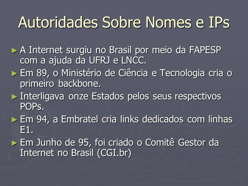 Autoridades Sobre Nomes e IPs A Internet surgiu no Brasil por meio da FAPESP com a ajuda da UFRJ e LNCC. A Internet surgiu no Brasil por meio da FAPES