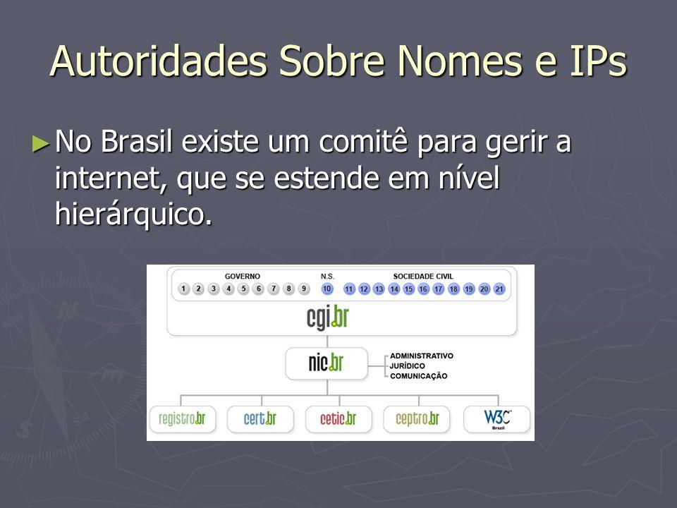 Autoridades Sobre Nomes e IPs No Brasil existe um comitê para gerir a internet, que se estende em nível hierárquico.