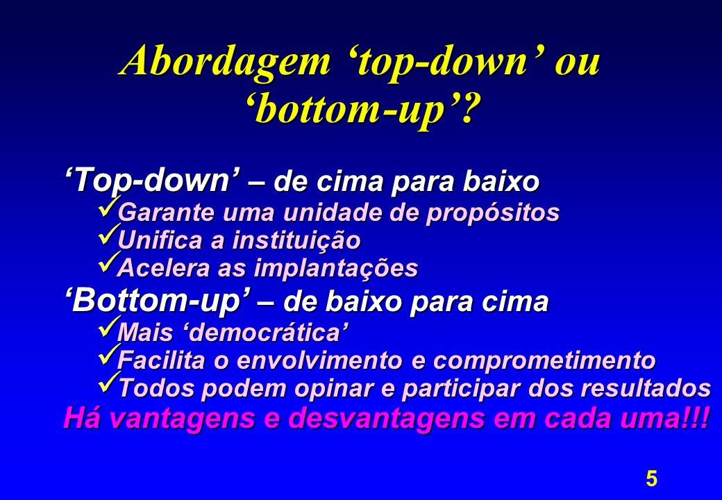 5 Abordagem top-down ou bottom-up? Top-down – de cima para baixo Garante uma unidade de propósitos Garante uma unidade de propósitos Unifica a institu