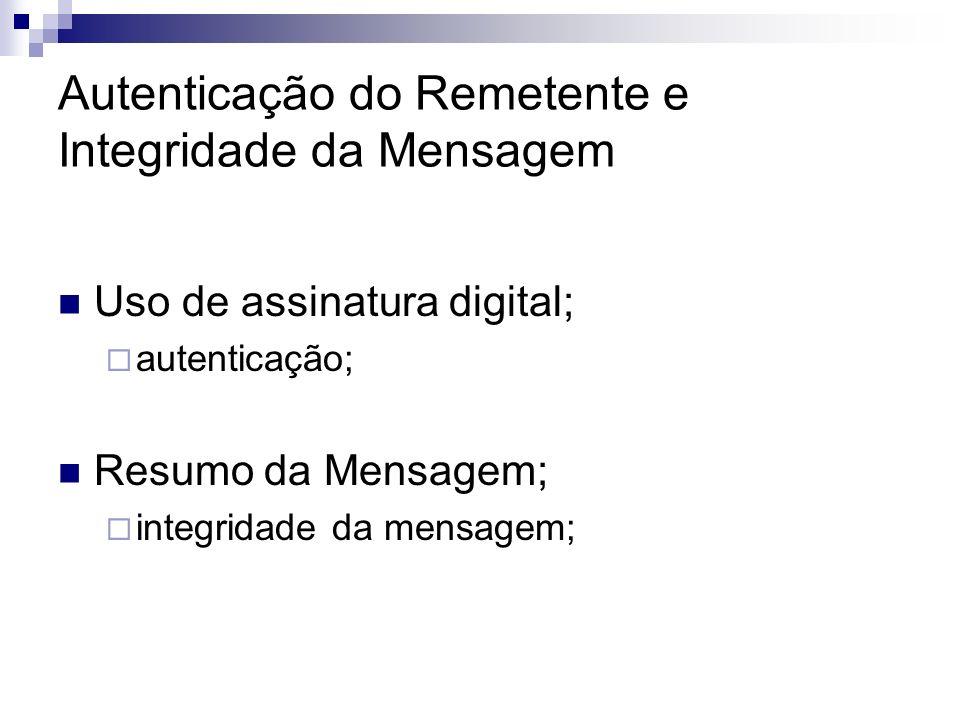 Autenticação do Remetente e Integridade da Mensagem Uso de assinatura digital; autenticação; Resumo da Mensagem; integridade da mensagem;
