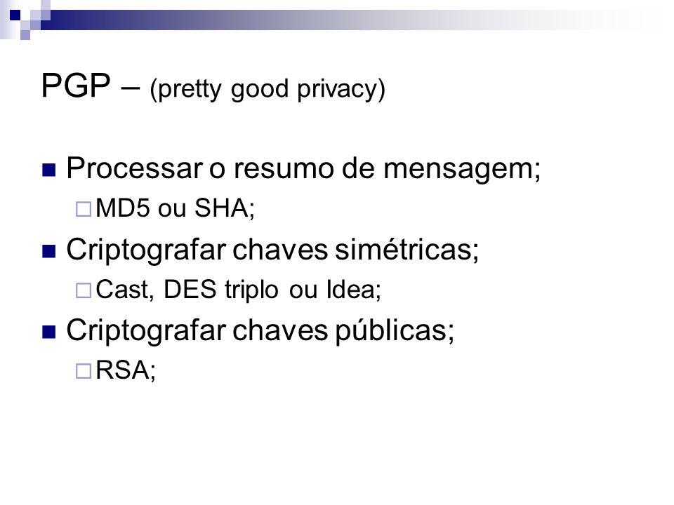 PGP – (pretty good privacy) Processar o resumo de mensagem; MD5 ou SHA; Criptografar chaves simétricas; Cast, DES triplo ou Idea; Criptografar chaves