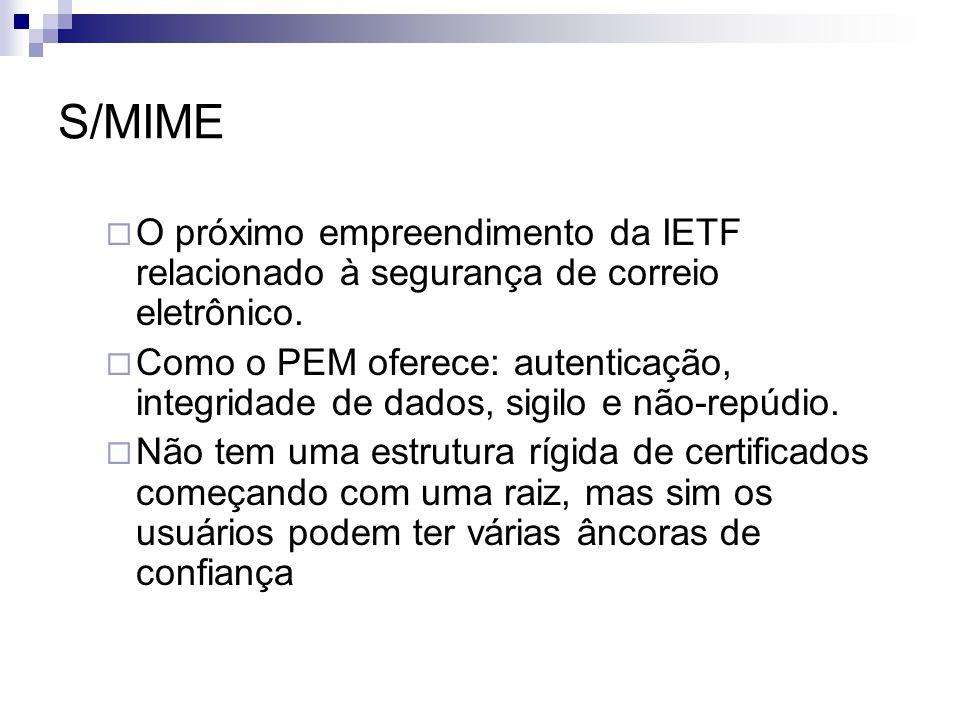 S/MIME O próximo empreendimento da IETF relacionado à segurança de correio eletrônico. Como o PEM oferece: autenticação, integridade de dados, sigilo