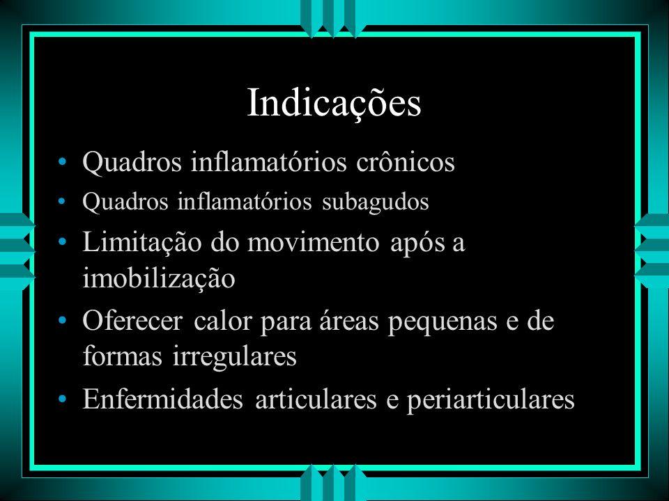 Indicações Quadros inflamatórios crônicos Quadros inflamatórios subagudos Limitação do movimento após a imobilização Oferecer calor para áreas pequena