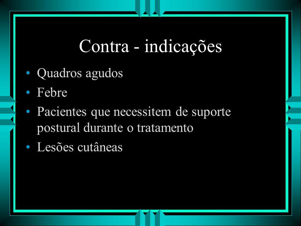 Contra - indicações Quadros agudos Febre Pacientes que necessitem de suporte postural durante o tratamento Lesões cutâneas