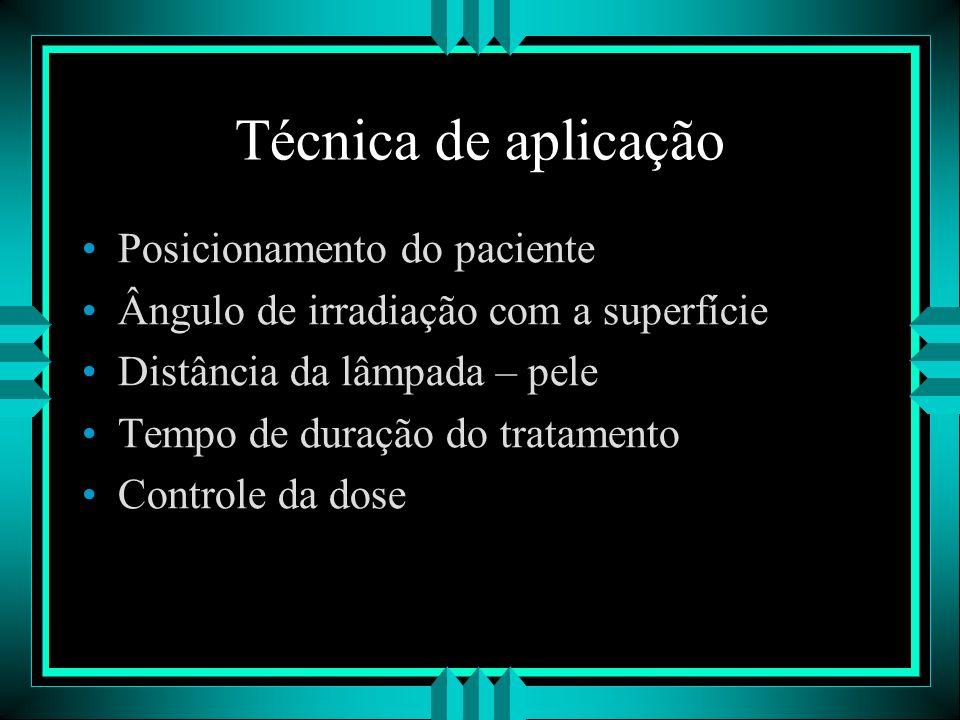 Técnica de aplicação Posicionamento do paciente Ângulo de irradiação com a superfície Distância da lâmpada – pele Tempo de duração do tratamento Contr