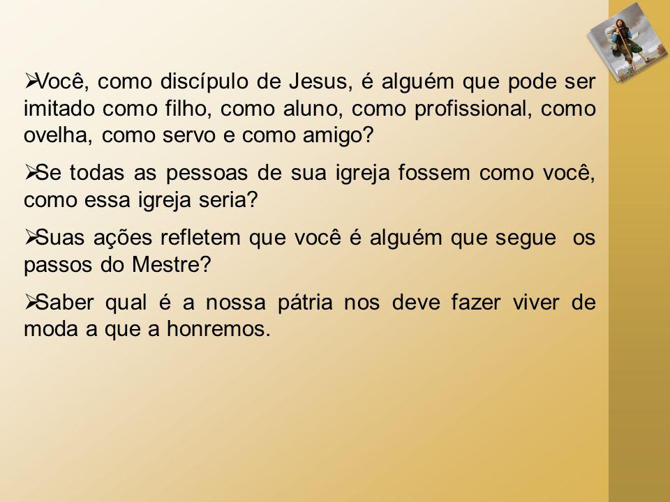 Você, como discípulo de Jesus, é alguém que pode ser imitado como filho, como aluno, como profissional, como ovelha, como servo e como amigo? Se todas