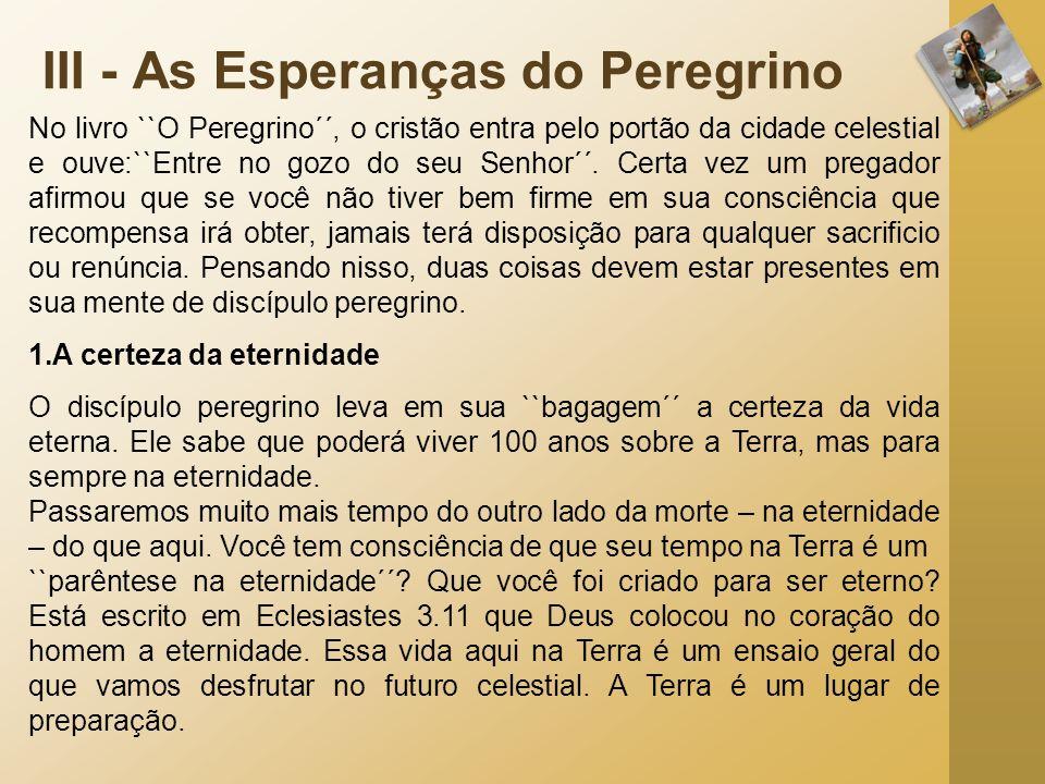 III - As Esperanças do Peregrino No livro ``O Peregrino´´, o cristão entra pelo portão da cidade celestial e ouve:``Entre no gozo do seu Senhor´´. Cer