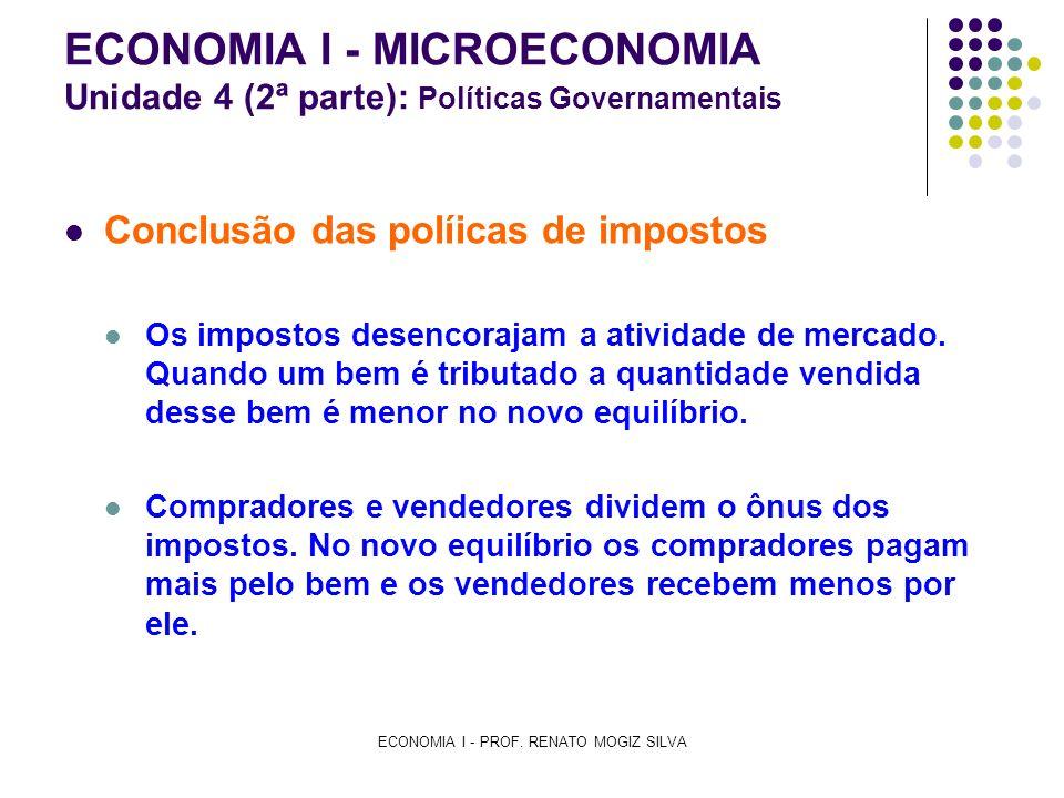 ECONOMIA I - PROF. RENATO MOGIZ SILVA ECONOMIA I - MICROECONOMIA Unidade 4 (2ª parte): Políticas Governamentais Conclusão das políicas de impostos Os