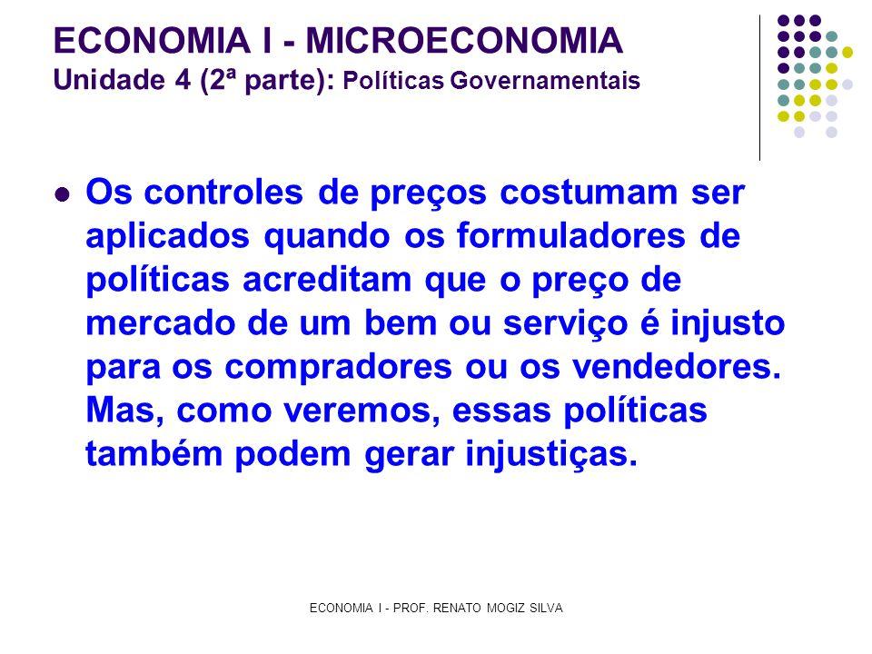 ECONOMIA I - PROF. RENATO MOGIZ SILVA ECONOMIA I - MICROECONOMIA Unidade 4 (2ª parte): Políticas Governamentais Os controles de preços costumam ser ap