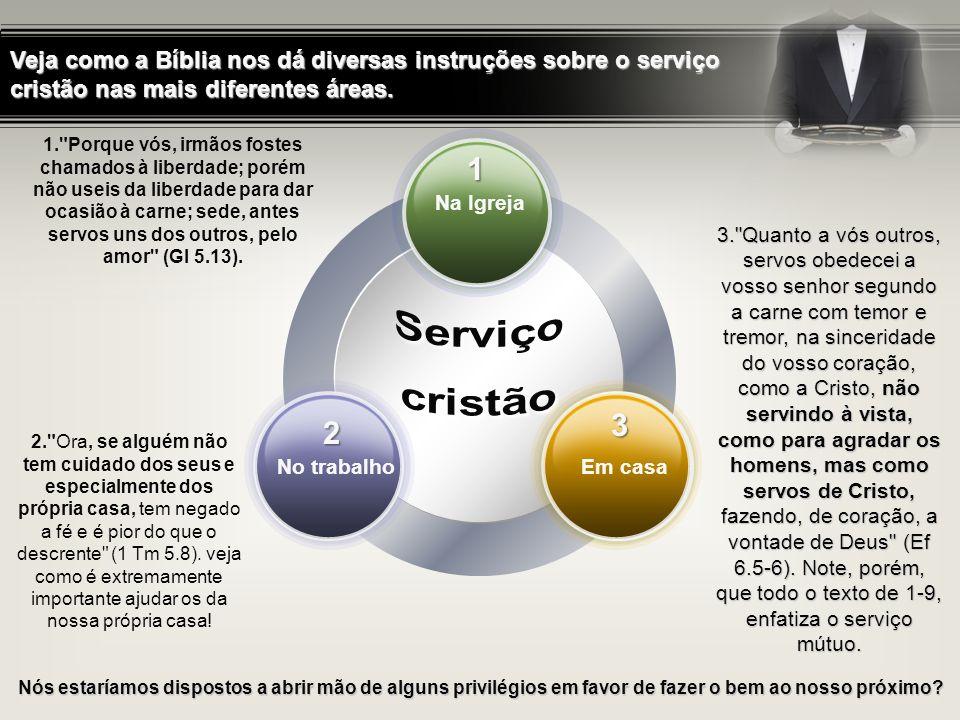 Veja como a Bíblia nos dá diversas instruções sobre o serviço cristão nas mais diferentes áreas. 1. Na Igreja: