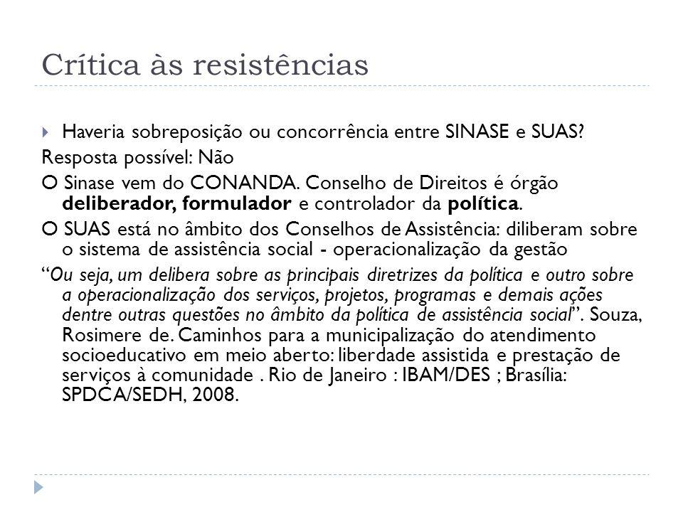 Crítica às resistências Haveria sobreposição ou concorrência entre SINASE e SUAS? Resposta possível: Não O Sinase vem do CONANDA. Conselho de Direitos