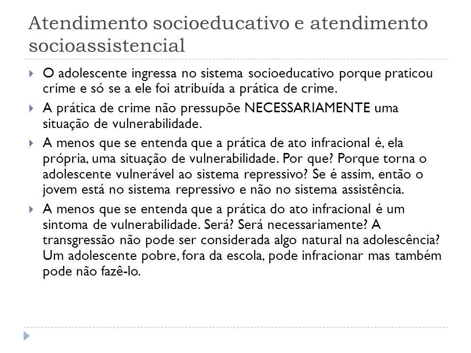 Atendimento socioeducativo e atendimento socioassistencial O adolescente ingressa no sistema socioeducativo porque praticou crime e só se a ele foi at