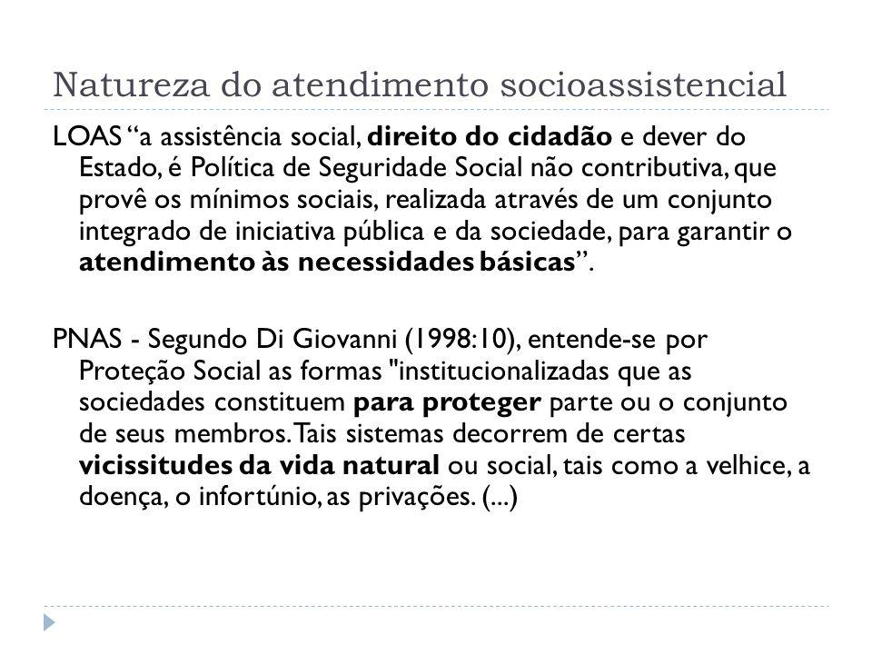 Natureza do atendimento socioassistencial LOAS a assistência social, direito do cidadão e dever do Estado, é Política de Seguridade Social não contrib