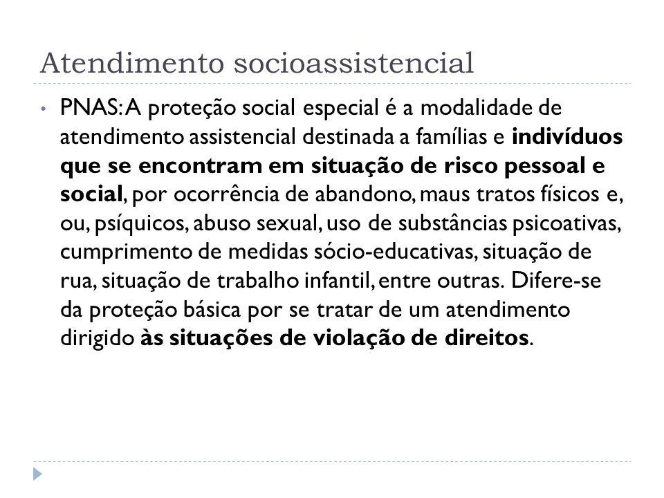 Atendimento socioassistencial PNAS: A proteção social especial é a modalidade de atendimento assistencial destinada a famílias e indivíduos que se enc