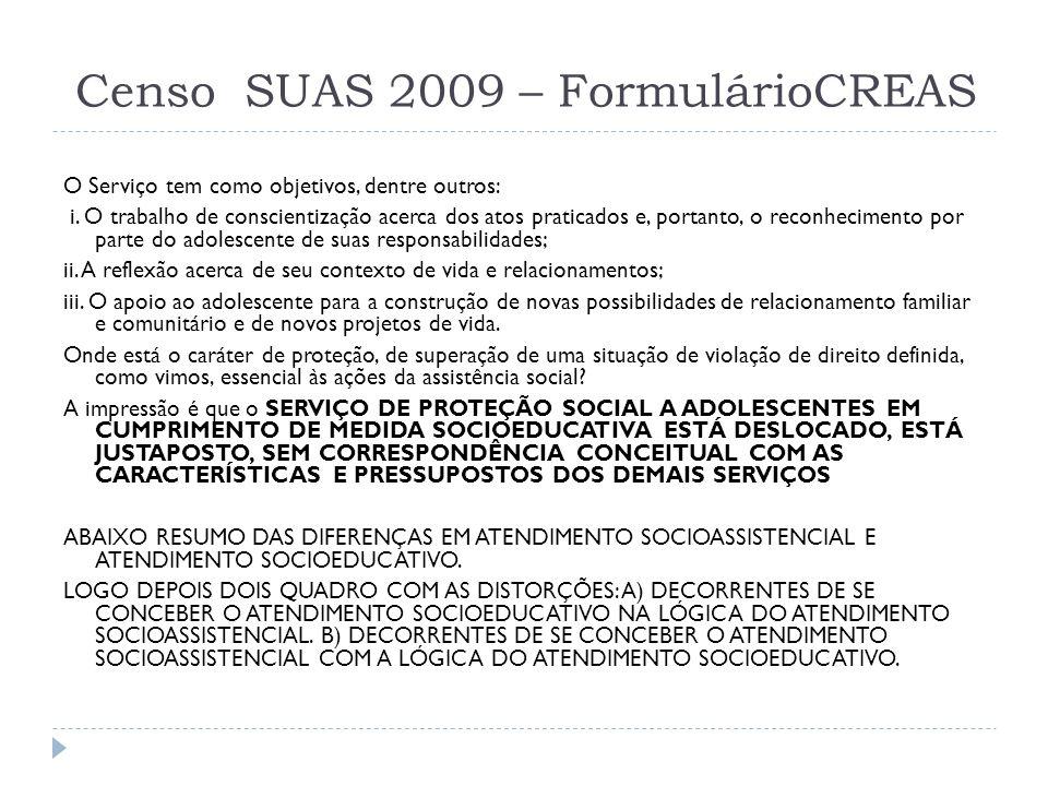 Censo SUAS 2009 – FormulárioCREAS O Serviço tem como objetivos, dentre outros: i. O trabalho de conscientização acerca dos atos praticados e, portanto