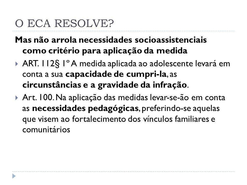 O ECA RESOLVE? Mas não arrola necessidades socioassistenciais como critério para aplicação da medida ART. 112§ 1º A medida aplicada ao adolescente lev