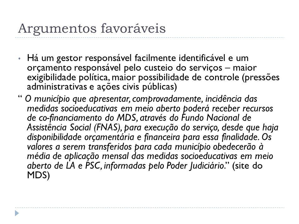 Argumentos favoráveis Há um gestor responsável facilmente identificável e um orçamento responsável pelo custeio do serviços – maior exigibilidade polí