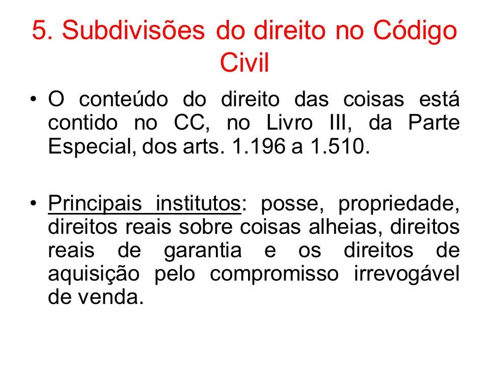 5. Subdivisões do direito no Código Civil O conteúdo do direito das coisas está contido no CC, no Livro III, da Parte Especial, dos arts. 1.196 a 1.51