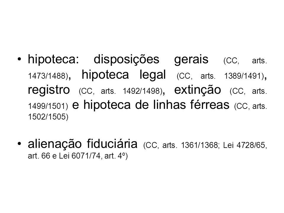 hipoteca: disposições gerais (CC, arts. 1473/1488), hipoteca legal (CC, arts. 1389/1491), registro (CC, arts. 1492/1498), extinção (CC, arts. 1499/150