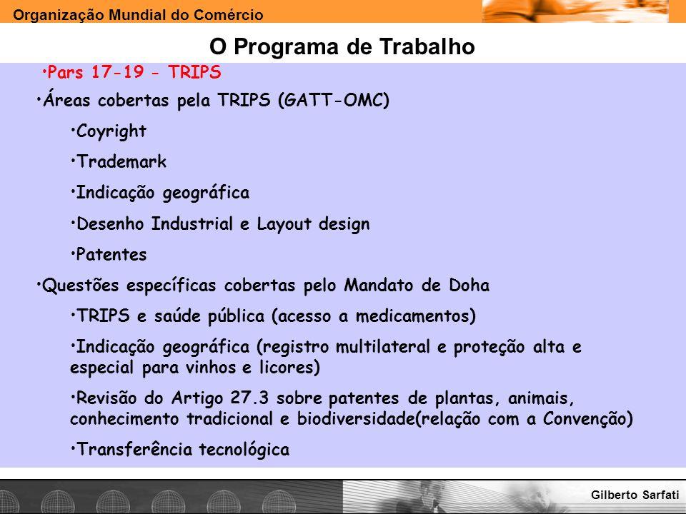 Organização Mundial do Comércio www.e-deliver.com.brGilberto Sarfati O Programa de Trabalho Pars 17-19 - TRIPS Áreas cobertas pela TRIPS (GATT-OMC) Co