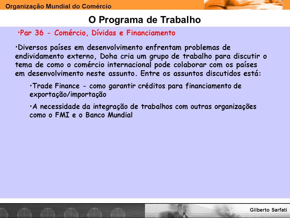 Organização Mundial do Comércio www.e-deliver.com.brGilberto Sarfati O Programa de Trabalho Par 36 - Comércio, Dívidas e Financiamento Diversos países