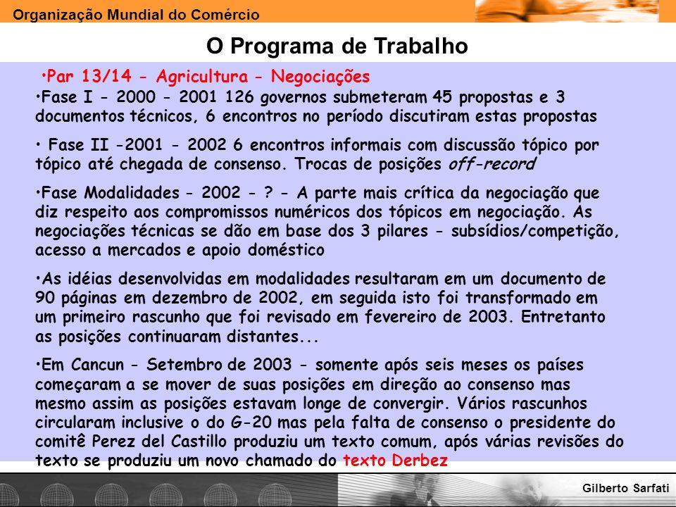 Organização Mundial do Comércio www.e-deliver.com.brGilberto Sarfati O Programa de Trabalho Par 13/14 - Agricultura - Negociações Fase I - 2000 - 2001