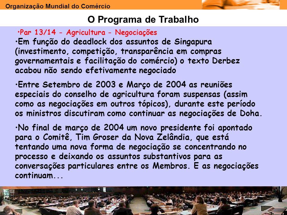 Organização Mundial do Comércio www.e-deliver.com.brGilberto Sarfati O Programa de Trabalho Par 13/14 - Agricultura - Negociações Em função do deadloc