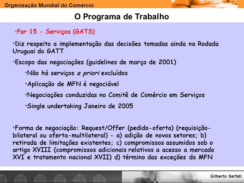 Organização Mundial do Comércio www.e-deliver.com.brGilberto Sarfati O Programa de Trabalho Par 15 - Serviços (GATS) Diz respeito a implementação das