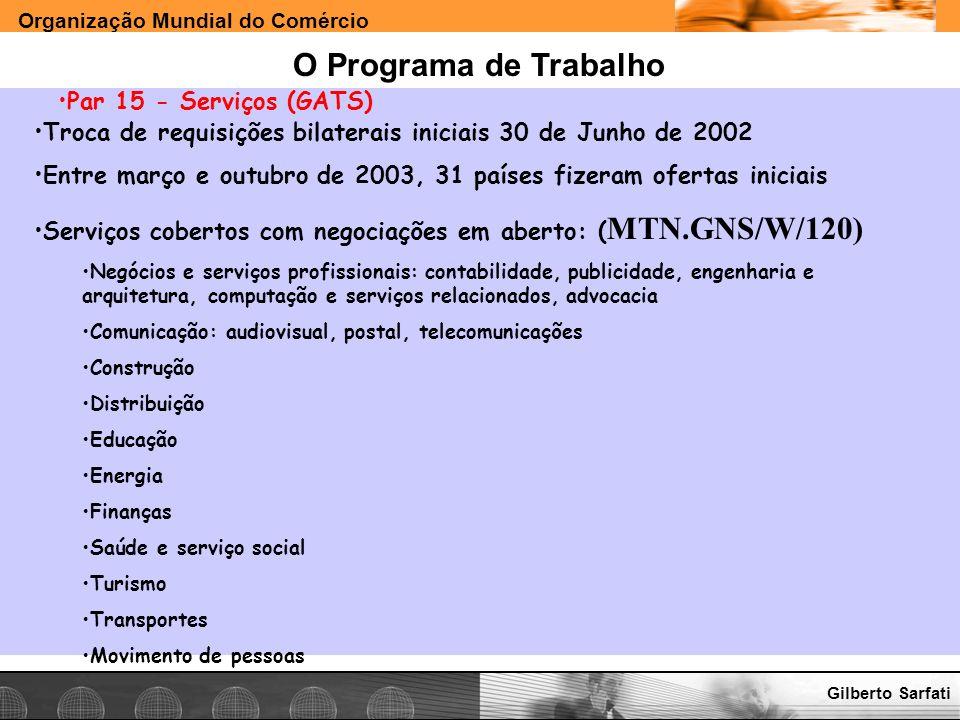Organização Mundial do Comércio www.e-deliver.com.brGilberto Sarfati O Programa de Trabalho Par 15 - Serviços (GATS) Troca de requisições bilaterais i