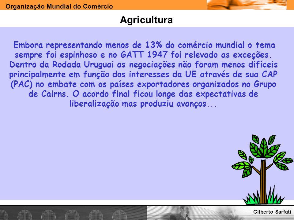 Organização Mundial do Comércio www.e-deliver.com.brGilberto Sarfati Agricultura Embora representando menos de 13% do comércio mundial o tema sempre f