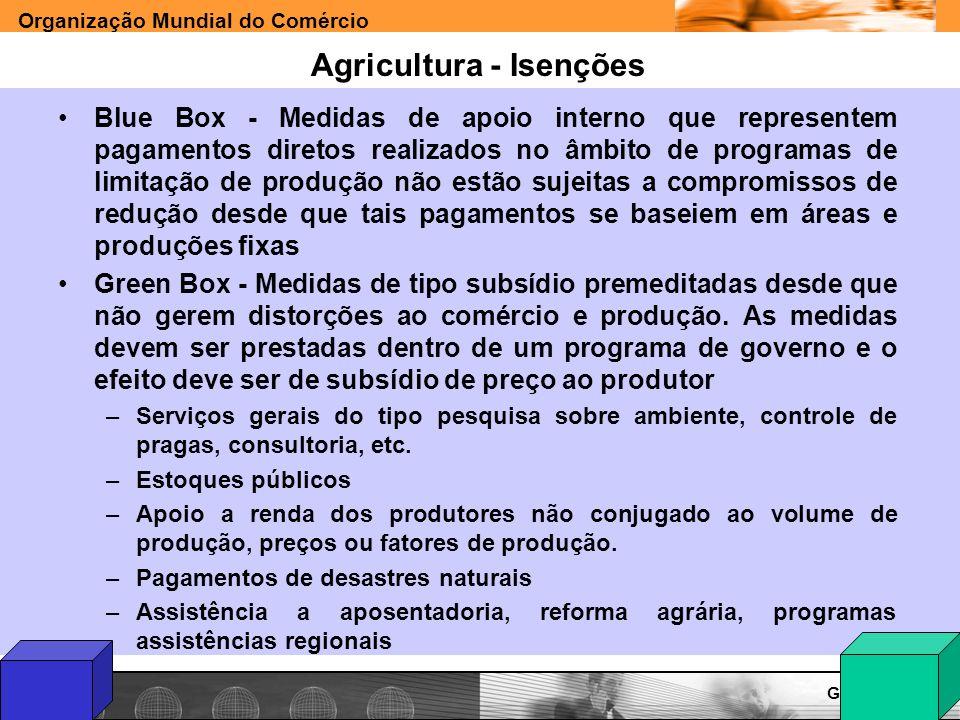 Organização Mundial do Comércio www.e-deliver.com.brGilberto Sarfati Agricultura - Isenções Blue Box - Medidas de apoio interno que representem pagame