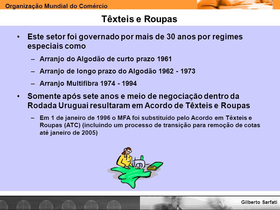 Organização Mundial do Comércio www.e-deliver.com.brGilberto Sarfati Têxteis e Roupas Este setor foi governado por mais de 30 anos por regimes especia