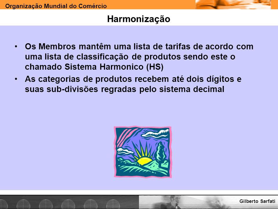 Organização Mundial do Comércio www.e-deliver.com.brGilberto Sarfati Harmonização Os Membros mantêm uma lista de tarifas de acordo com uma lista de cl