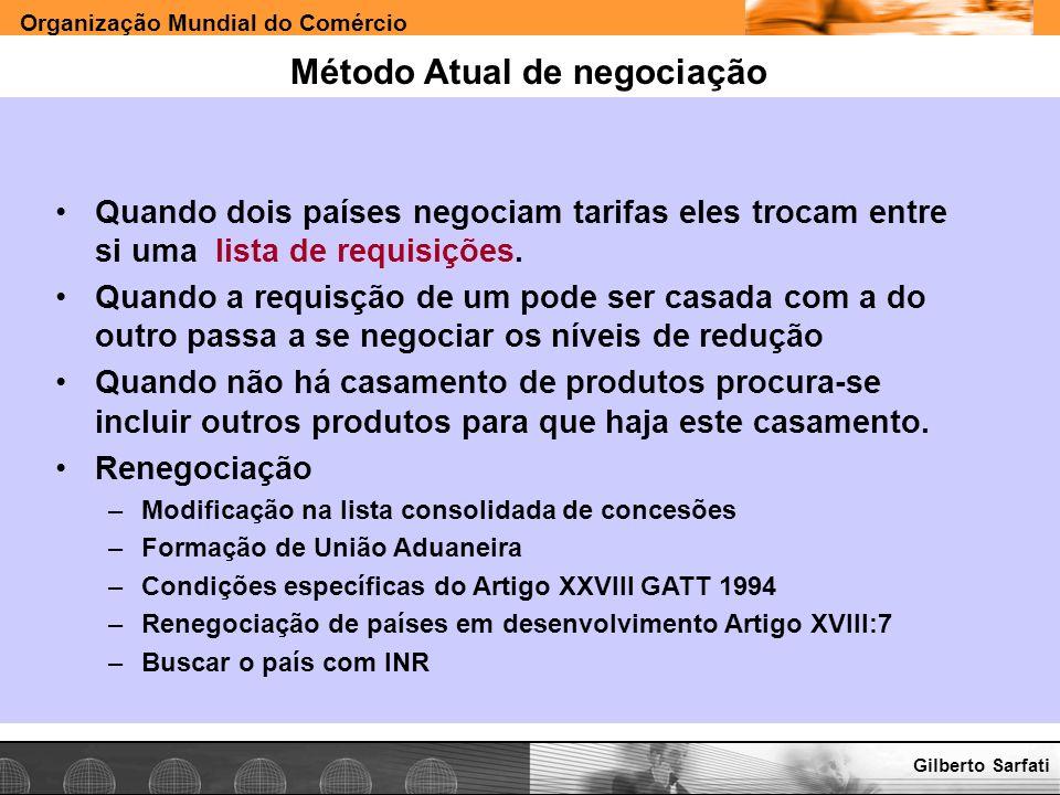 Organização Mundial do Comércio www.e-deliver.com.brGilberto Sarfati Método Atual de negociação Quando dois países negociam tarifas eles trocam entre