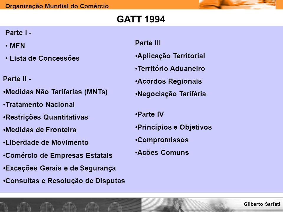 Organização Mundial do Comércio www.e-deliver.com.brGilberto Sarfati GATT 1994 Parte I - MFN Lista de Concessões Parte II - Medidas Não Tarifarias (MN