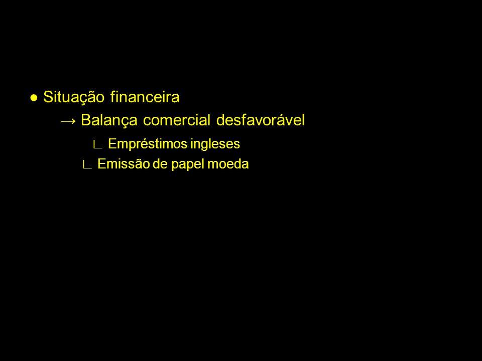 Situação financeira Balança comercial desfavorável Empréstimos ingleses Emissão de papel moeda