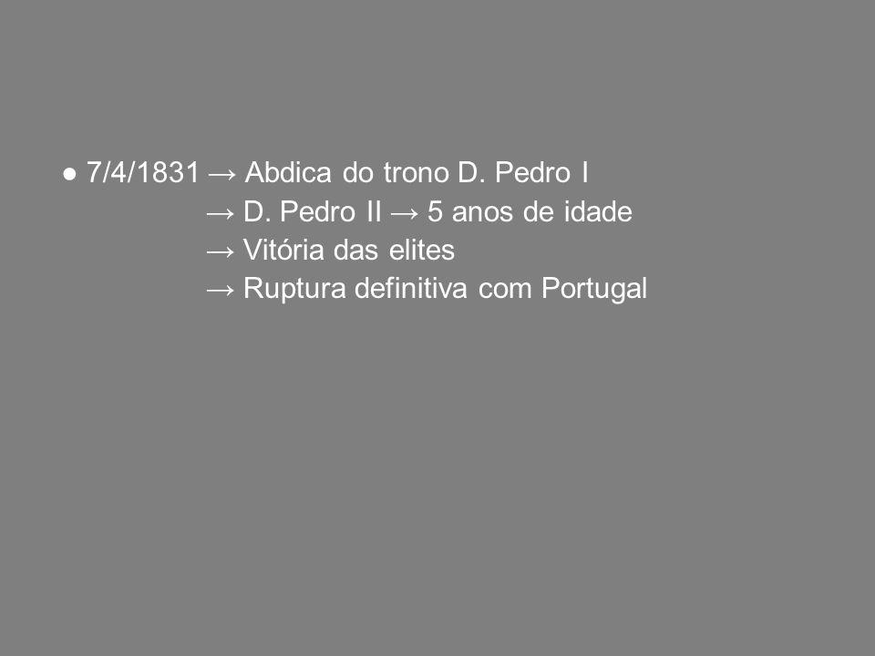 7/4/1831 Abdica do trono D. Pedro I D. Pedro II 5 anos de idade Vitória das elites Ruptura definitiva com Portugal