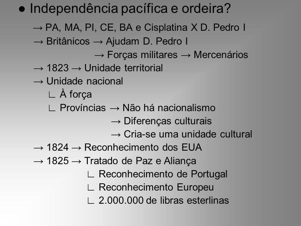 Independência pacífica e ordeira? PA, MA, PI, CE, BA e Cisplatina X D. Pedro I Britânicos Ajudam D. Pedro I Forças militares Mercenários 1823 Unidade