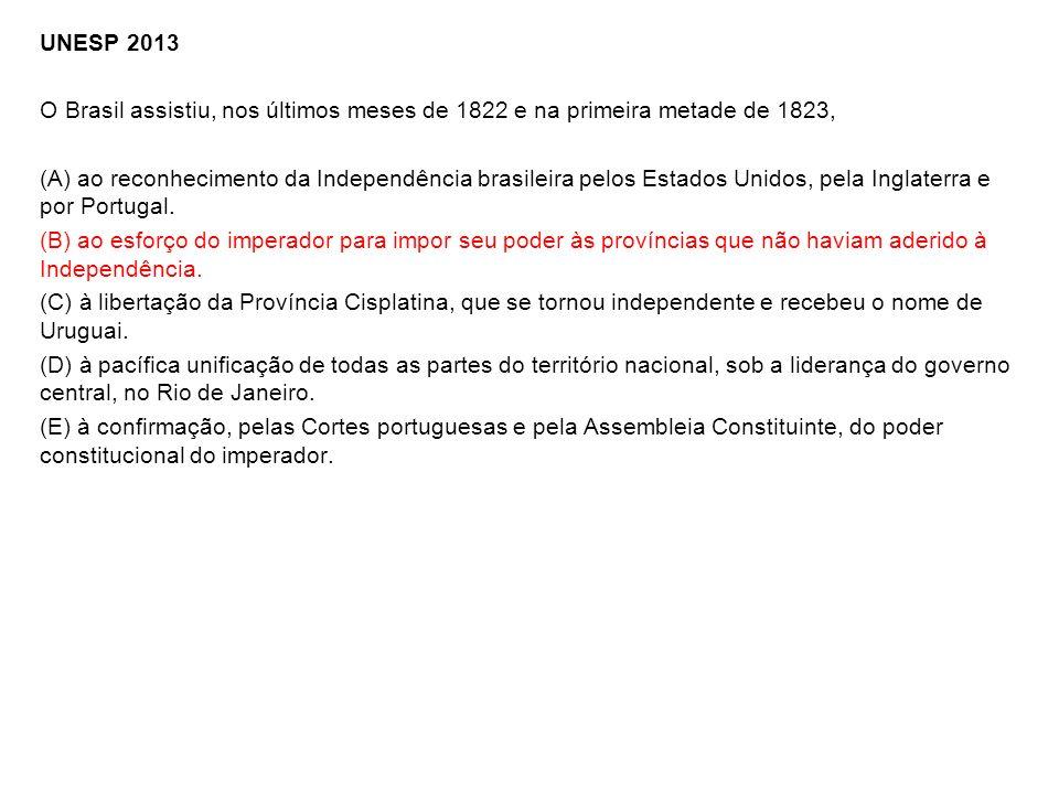 UNESP 2013 O Brasil assistiu, nos últimos meses de 1822 e na primeira metade de 1823, (A) ao reconhecimento da Independência brasileira pelos Estados