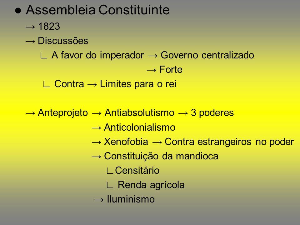 Assembleia Constituinte 1823 Discussões A favor do imperador Governo centralizado Forte Contra Limites para o rei Anteprojeto Antiabsolutismo 3 podere